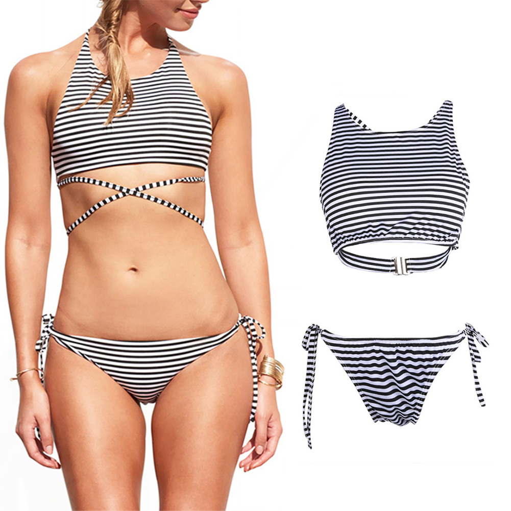 2017 Women Swimsuit Lady Sexy Bikini Swimwear Bra Female Padded Stripe Swimsuit Beachwear Bandage Push up Bikini Set Biquinis 1