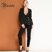 Vicente HOT Chic Business Suit Button Design Sexy Turn down Collar Long Sleeves Two Pieces Casual Wear Women Black Suit