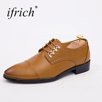 Ifrich New Arrival Mens Pointed Toe Dress Shoes Comfortable Male Luxury Brand Platform Footwear Lace Up