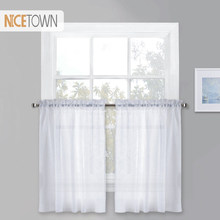 NICETOWN Short transparent Voile Sheer Valance Rod Pocket Panel for Kitchen, Home living Kitchen, Bedroom Customized, 1 Panel(China)