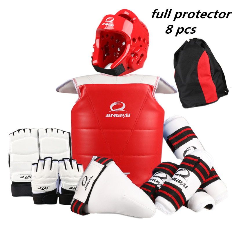 taekwondo protectors full set of 8 pcs child adult Helmet Chest head protector Armguards Shank protector Crotch hand foot guard 2018 new taekwondo chest protector target boxing protector wushu sanda training exercise chest thai protector free shipping