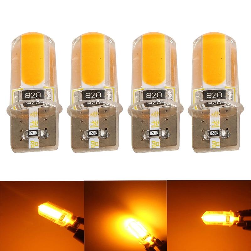 JXLCLYL 4pcs T10 194 168 W5W COB LED Car Canbus Silica Width Light Bulb Amber