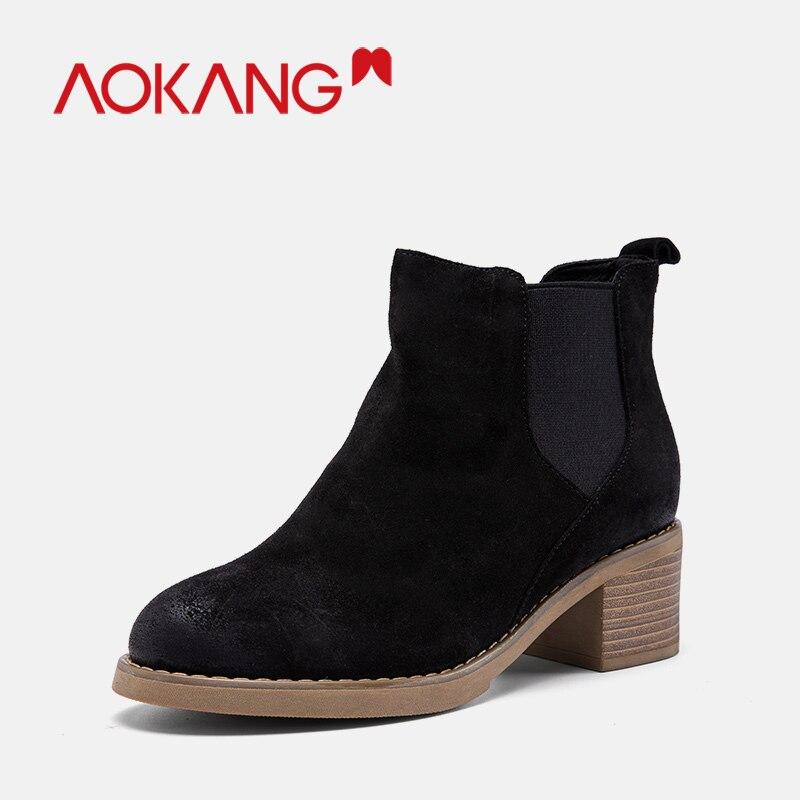 sur Dames Chaussures brown184931011 Élastique Polaires Femmes Bottes Chaudes Chelsea Slip Cowsuede Noir Aokang Bootie Nouvelle Cheville Black184931010 ZOkuPXiT