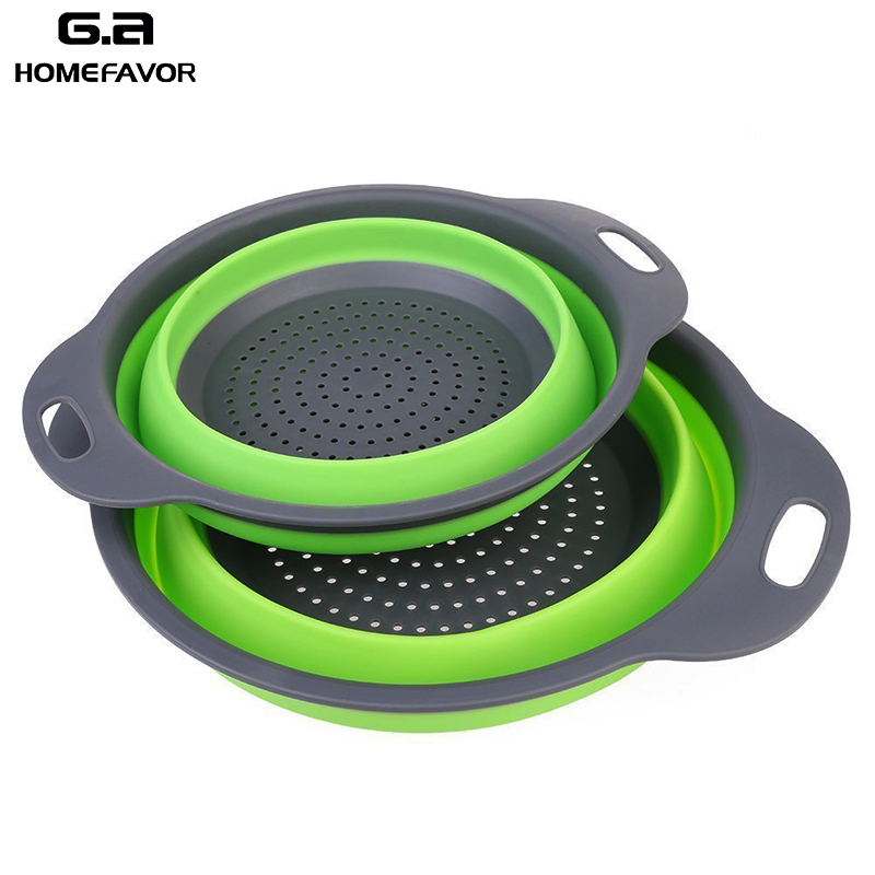 2 Pcs Silicone Drain Basket Foldable Colanders Fruit Vegetable Noodles Washing Basket Strainers Kitchen Tools & Gadgets