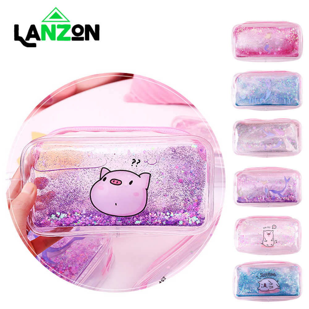 Lanzon Fashion Cute Cosmetic Bag Pencil Case Pig and Mermaid Quicksand Pen Bags for Girl Women Cosmetic Bag Make Up Storage Gift