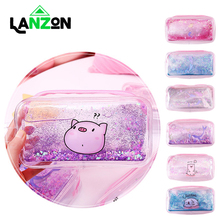 Lanzon Fashion Cute Cosmetic Bag Pencil Case Pig and Mermaid Quicksand Pen Bags for Girl Women Make Up Storage Gift