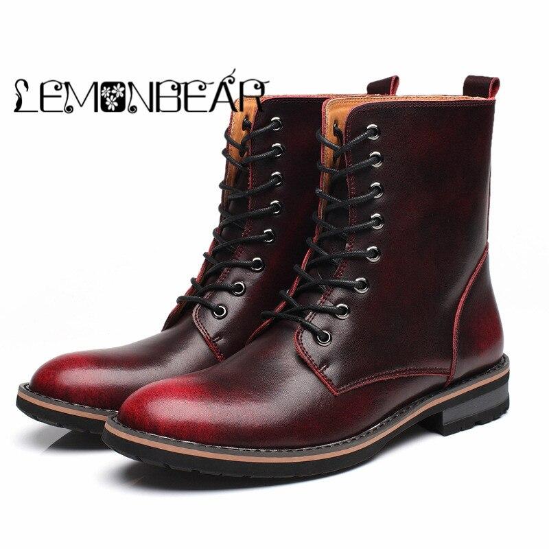 dark Bottes En Étanche Fourrure Cuir Split Gray Nouvelle red Hiver Moto Wine Cowboy Chaussures Combat Boot Hommes Brown 2018 Vache Militaire Boucle Vintage De 5RCw76q