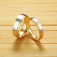 Personalized Romantic Wedding Rings For Lover Gold-Color Stainless Steel Couple Rings For Engagement Party Jewelry Wedding Bands tailor made luxury western rose gold color inlay health surgical stainless steel wedding bands rings sets