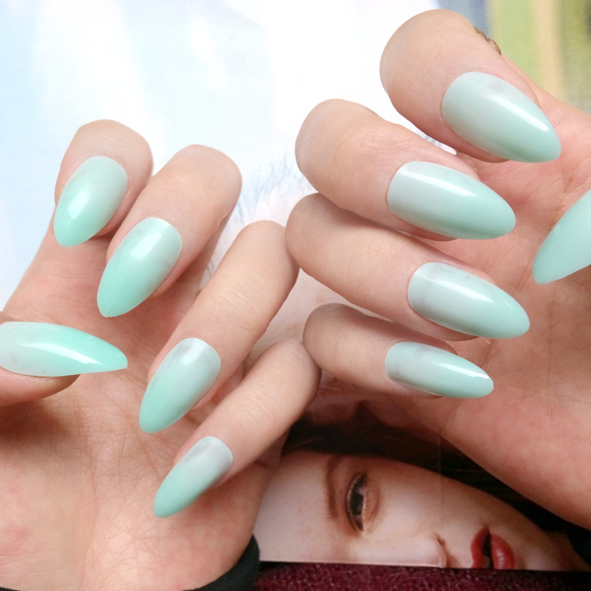 Candy Light Green False Nails Short Stiletto Nails Tips Pointed Fake ...