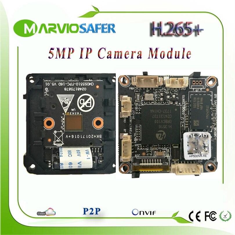 H.265/H.264 5MP CCTV Réseau IP Caméra Module Conseil Bonne IR Night Vision Two way Audio Interface IPCAM Vidéo Surveillance Onvif