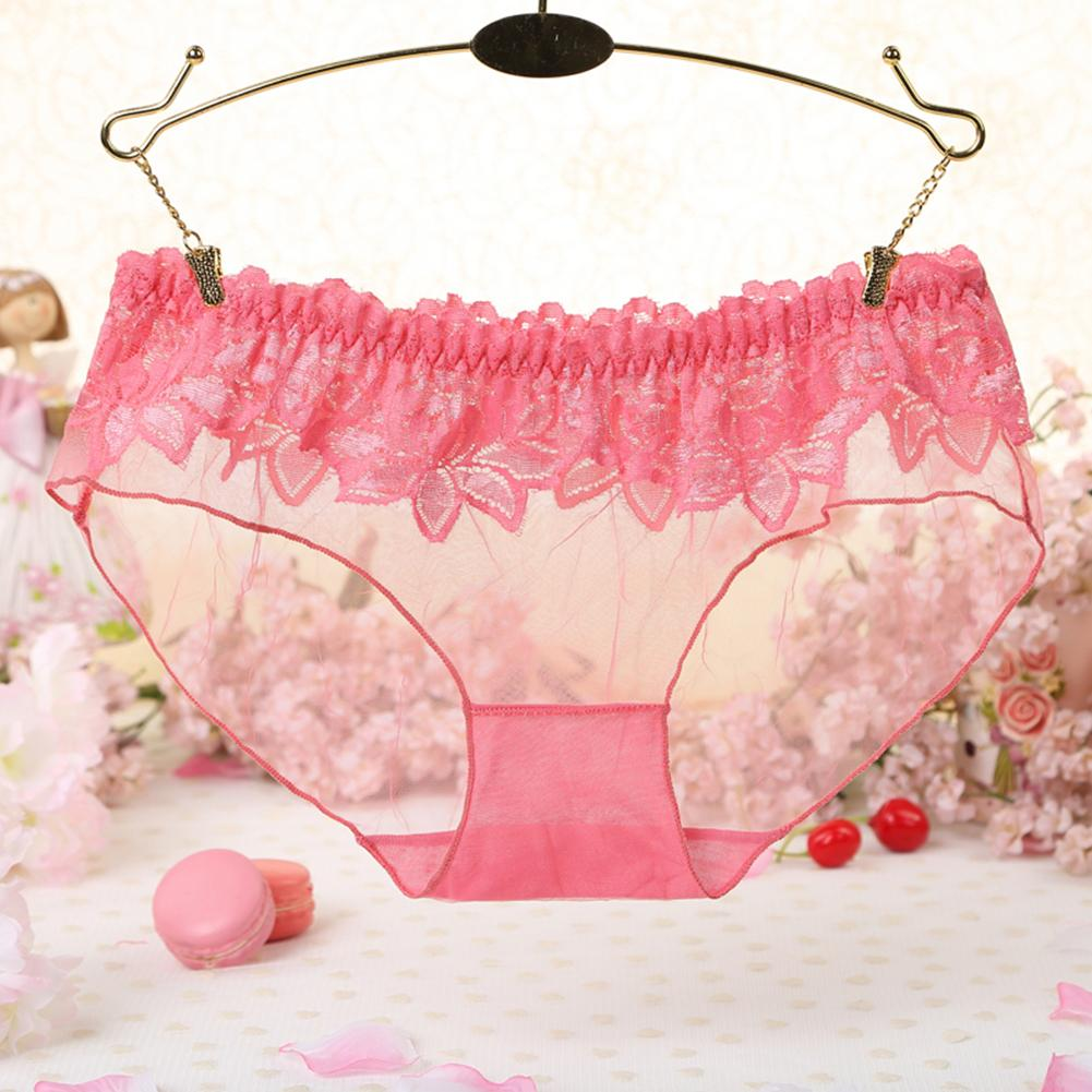Fashion Lace See Through Panties Gift Sweet Women Low Rise Briefs Underwear Breathable Underpants Interior Girly