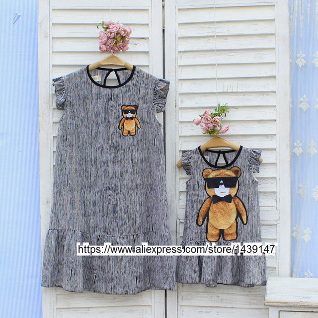 plus large size Woman Girls Family parent-child fashion stripe cartoon bear mother daughter Girls dress Loose show thin lovely
