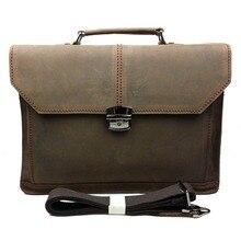 [New] leather man bag men's business documents handbag first layer of leather shoulder messenger bag crazy horse