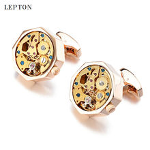 New Gold Watch Movement Cufflinks Of immovable Stainless Steel Steampunk Gear Watch Cuff links for Mens Groom Relojes gemelos
