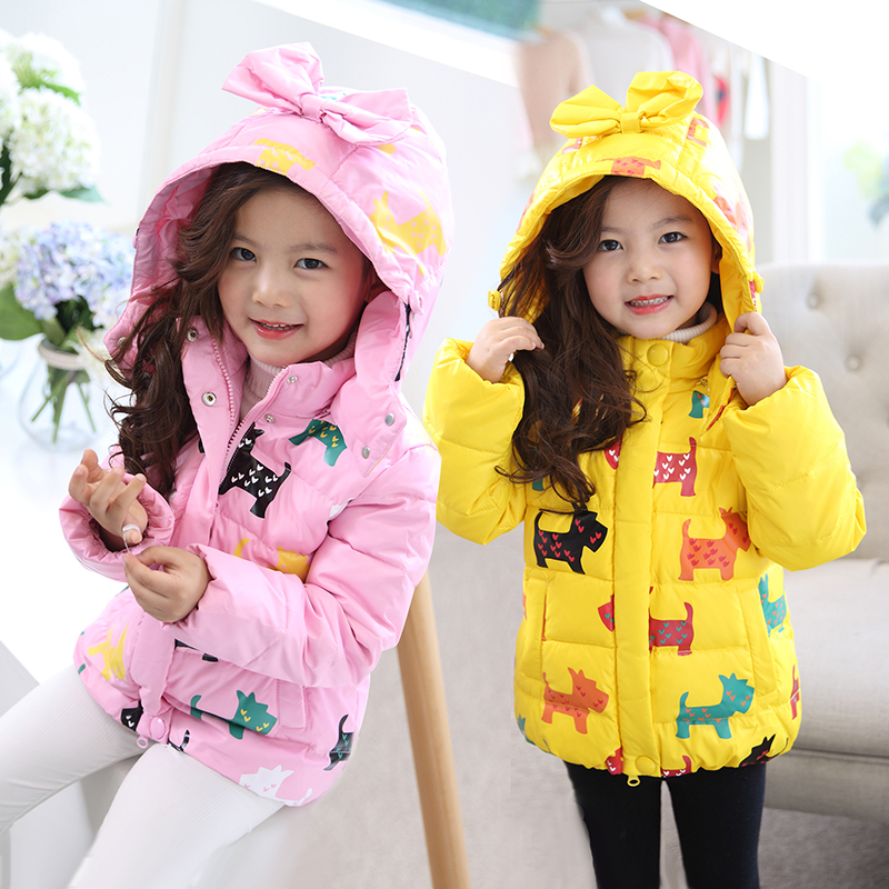 kids winter jacket for girls pink hooded parka cute yellow warm cotton coat girl costume children outerwear red cartoon jacket free shipping winter girl stripe cute doll skirt cotton quilted jacket