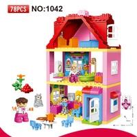 78 PCS Large Size Pink Villa Girls Big Building Blocks Set Kids DIY Bricks Model Toys