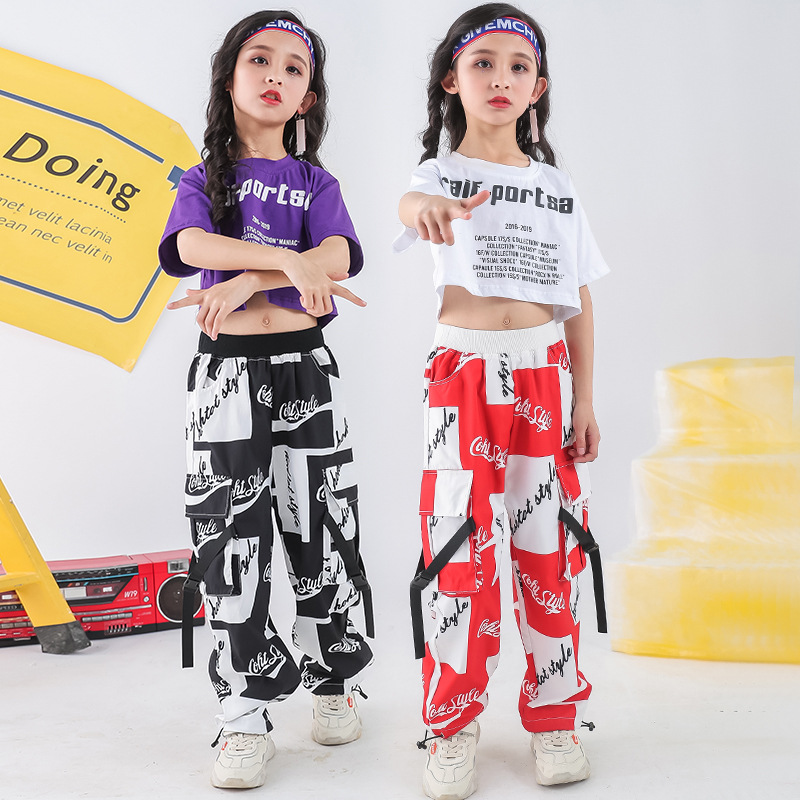 Buy Summer Crop Top T Shirt Pants Suit Hip-Hop Dance Costume for Girl Children's Stage Clothes Jazz Hip Hop Clothing Kids Streetwear for only 18 USD
