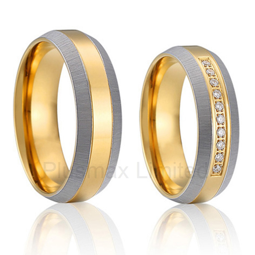 yellow Gold Plating health titanium Fashion jewelry wedding bands engagement Rings sets for couples 2014 latest yellow gold plating bicolor titanium engagement wedding rings designs for men and women anillos gold plating