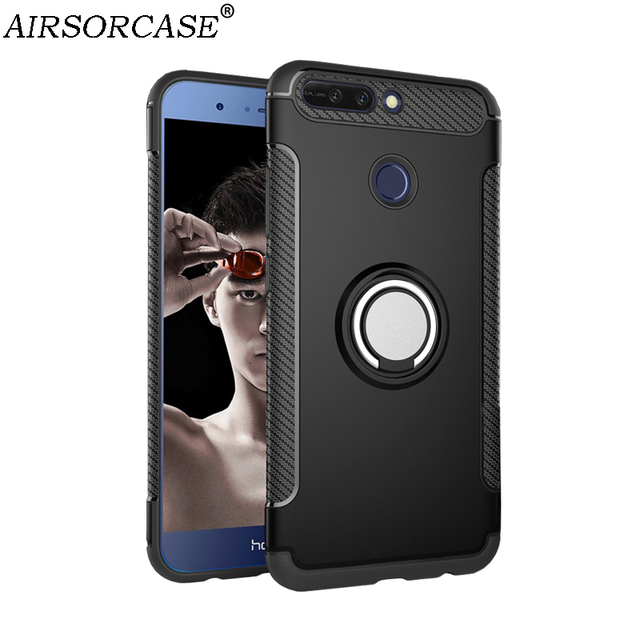 best authentic 79b80 6b031 US $4.99 |For Huawei Honor 8 Pro Case for HUAWEI Honor V9 Cover Hard PC &  TPU Back Cover Kickstand Finger Ring for Car Magnetic Holder-in Fitted  Cases ...