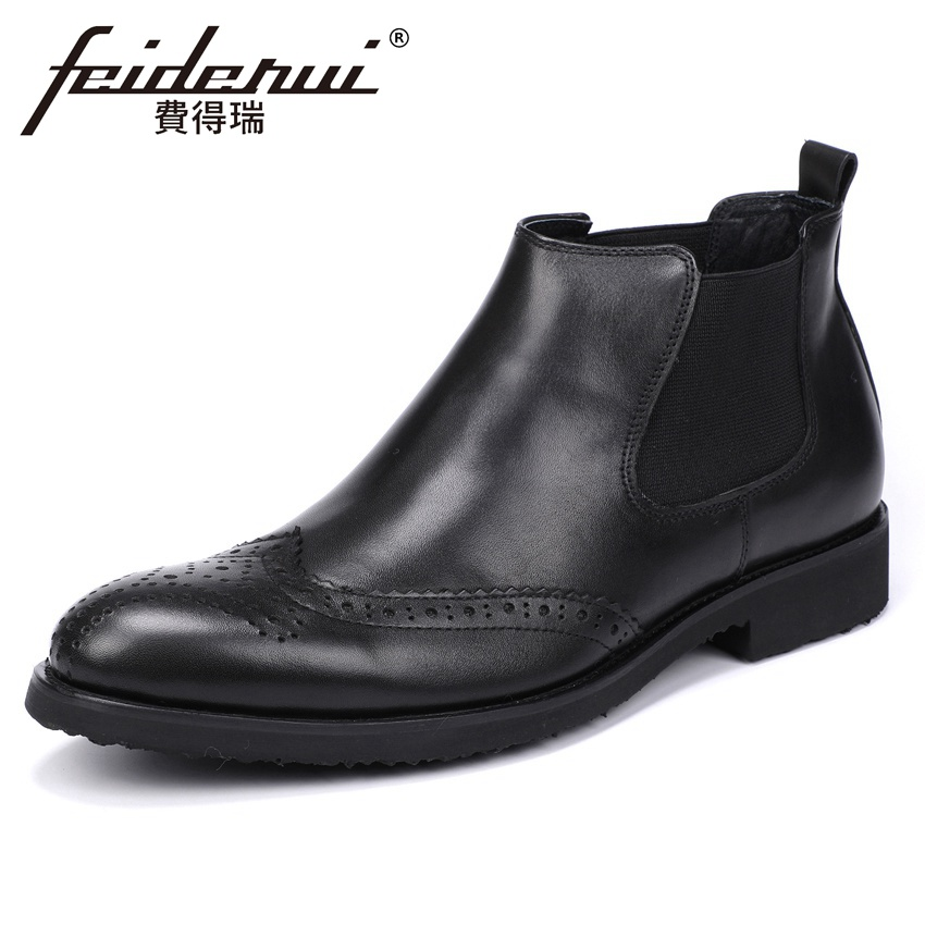 New Genuine Leather Mens Chelsea Riding Ankle Boots Round Toe High-Top Wingtip Brogue Handmade Cowboy  Man Shoes YMX543New Genuine Leather Mens Chelsea Riding Ankle Boots Round Toe High-Top Wingtip Brogue Handmade Cowboy  Man Shoes YMX543