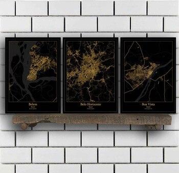 Póster del mapa de Brasil, Belem Belo horizontal Boa Vista, Brasilia, Curitiba,...