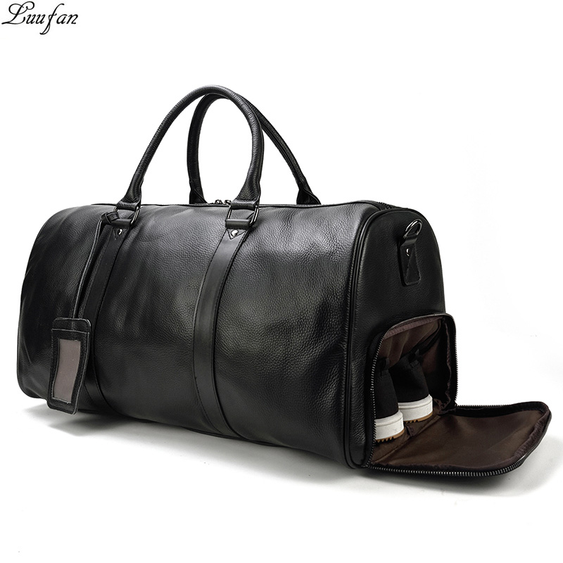 Big Vintage Men Travel Bag Genuine cow Leather black Travel Duffel Male Carry On Luggage Weekend