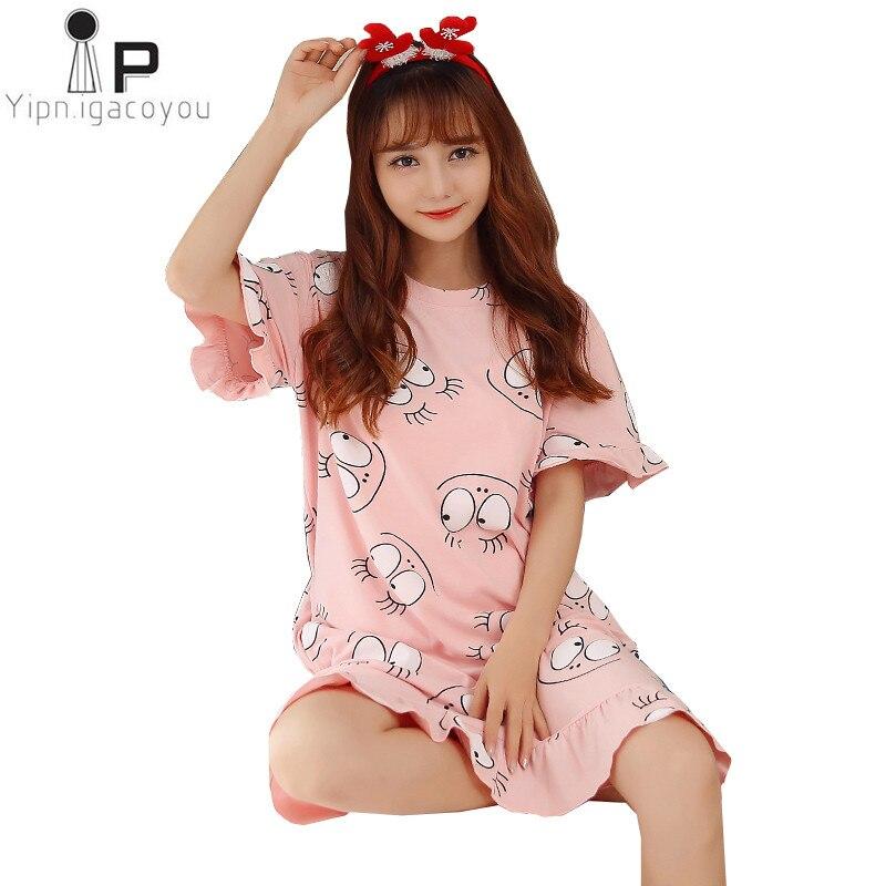 Women Home Dress Lace nightwear Fashion Befree Female Sexy Nightgown Women Cotton sleepwear Plus-size Korean Womens sleepwear