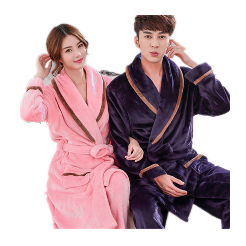 Couples Bathrobe Man And Women Robe Sleepwear Flannel Thick Warm Winter Robes Long Sleeve Home Clothes Bath Robes