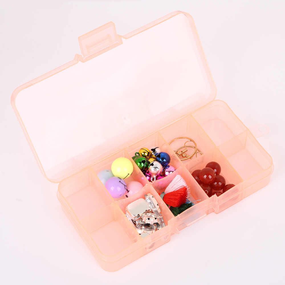 10 חריצים מתכוונן תכשיטים שקוף טבעת עגיל תרופות חרוזים נייד פלסטיק ארגונית מקרה נסיעות פחי