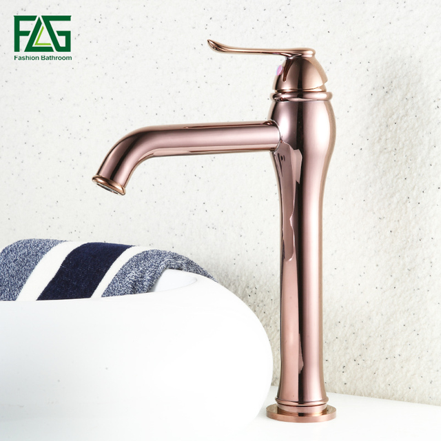 Rose Gold Copper Bathroom Sink Basin Faucet Single Handle Handle