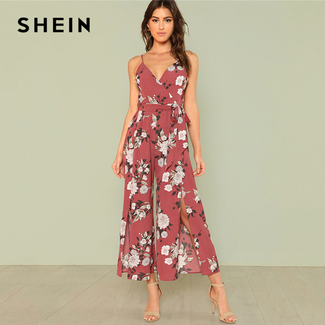 8511c13440 SHEIN Slit Hem Flower Print Cami Jumpsuit 2018 Summer Spaghetti Strap  Sleeveless Jumpsuit Women Floral Vacation Belted Overalls