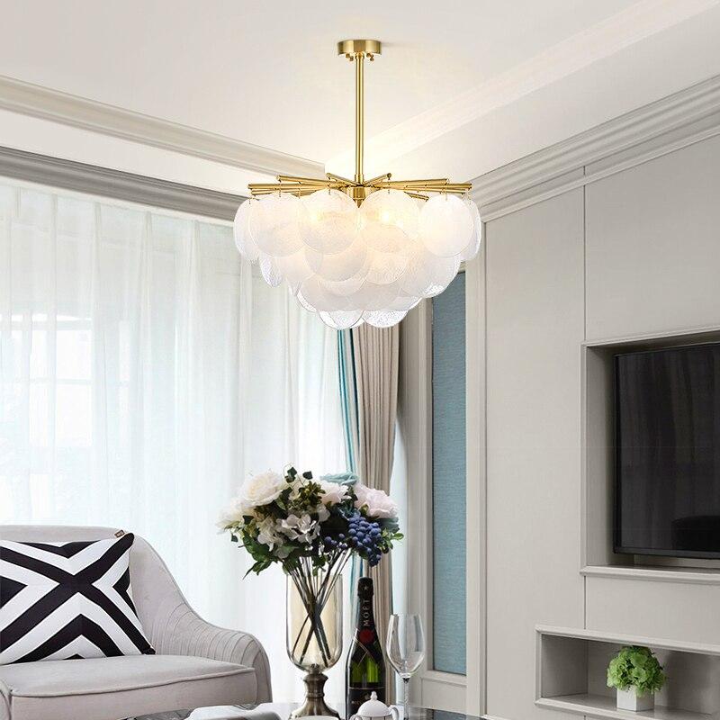 Moderne neige verre Led lustre éclairage or métal salle à manger pendentif Led lustres salon suspendus luminaires - 2