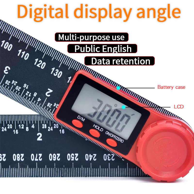 0-200mm 8'' Digital Meter Angle Inclinometer Angle Digital Ruler Electron Goniometer Protractor Angle Finder Measuring Tool