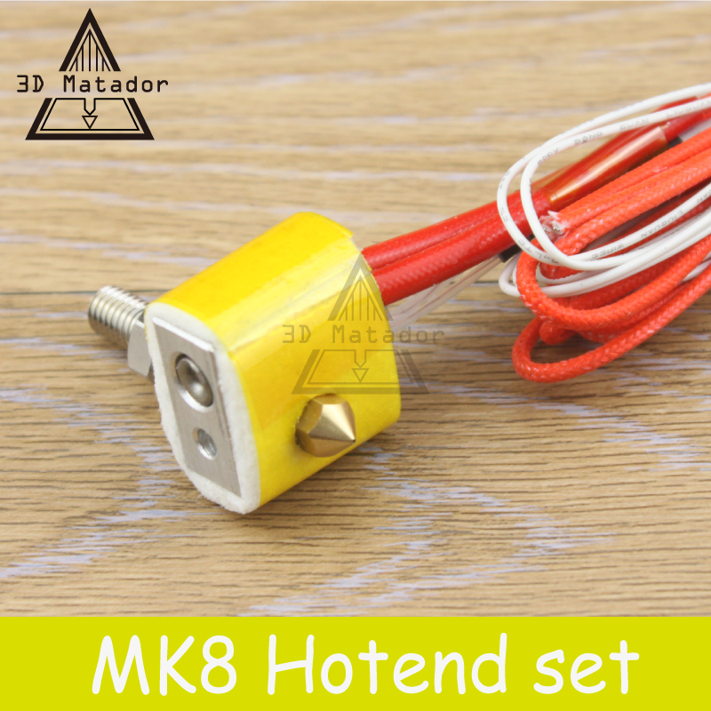 MK8 Assembled Extruder Hot End kit for Prusa i3 3D Printer 12v/24v 1.75mm 0.4mm Nozzle 3D printer aluminum heating block