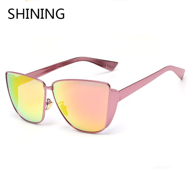 2016 New Fashion Sexy Trend Women Cat Eye Sunglasses Men Luxury Brand Design Vintage Metal Frame Sunglasses Oculos de sol UV400