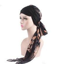 Весна Осень леди шифон шарф шляпа тюрбан стрейч голова с шапочка для химиотерапии цветок длинные девушки мусульманские шапочки аксессуары