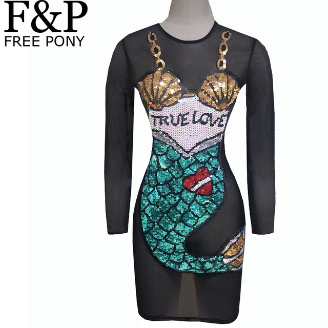 Women Mesh Bodycon Dress Black Cartoon Mermaid Sequin Dress Boho Summer  Harajuku Festival Rave Perspective Dress Clothing 19276082af0f