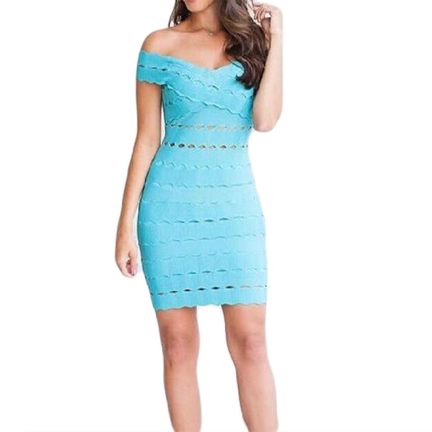 2019 New Sexy Women Light Blue Sleeveless Slash Neck Jaquard Hollow Out Bodycon Celebrity Party Dress
