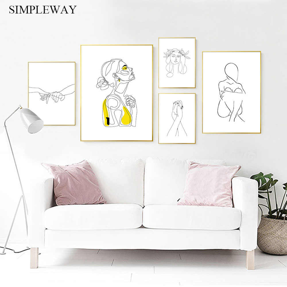 Line Drawing Abstract Poster Simple Wall Art Canvas Print Painting Minimalist Decorative Picture Modern Living Room Decor