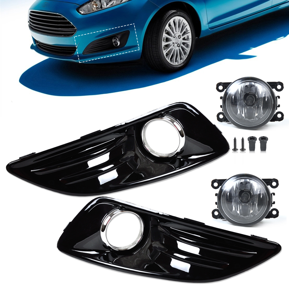 DWCX Car Black with Baking Finish 4pcs Front Bumper Fog Light Cover Grille + Fog Light Lamp Set fit for Ford Fiesta 2014-in Car Light Assembly from Automobiles & Motorcycles    1