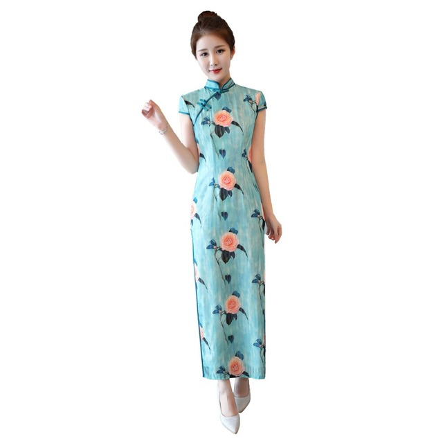 fcd1c23f0 Shanghai Story Chinese style dress Flower Print Long Qipao Dress chinese  style Faux Silk cheongsam Oriental Dress for woman