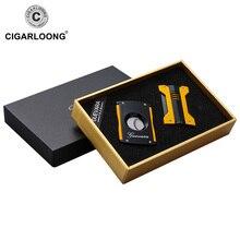 Free ship luxury Double Guillotine Cigar Cutter Scissor W windproof lighter touch Cigarette Lighter CQ-0021