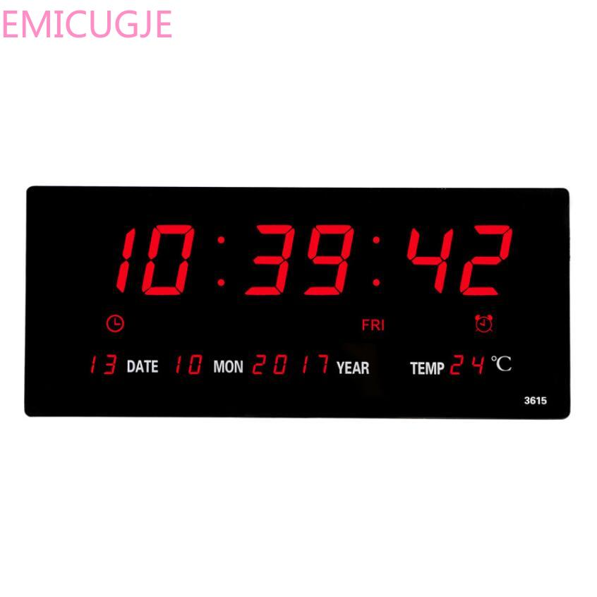 with thermometer Power off time memory clock big numbers plugin alarm clock Livingroom 6 digits led calendar wall clock