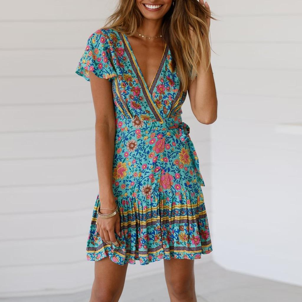 5fd4629393 Women Boho Dress Sexy V-Neck Floral Print Summer Party Beach Dress Short  Sleeve A-Line Swing Mini Dress Sundress vestidos 2019