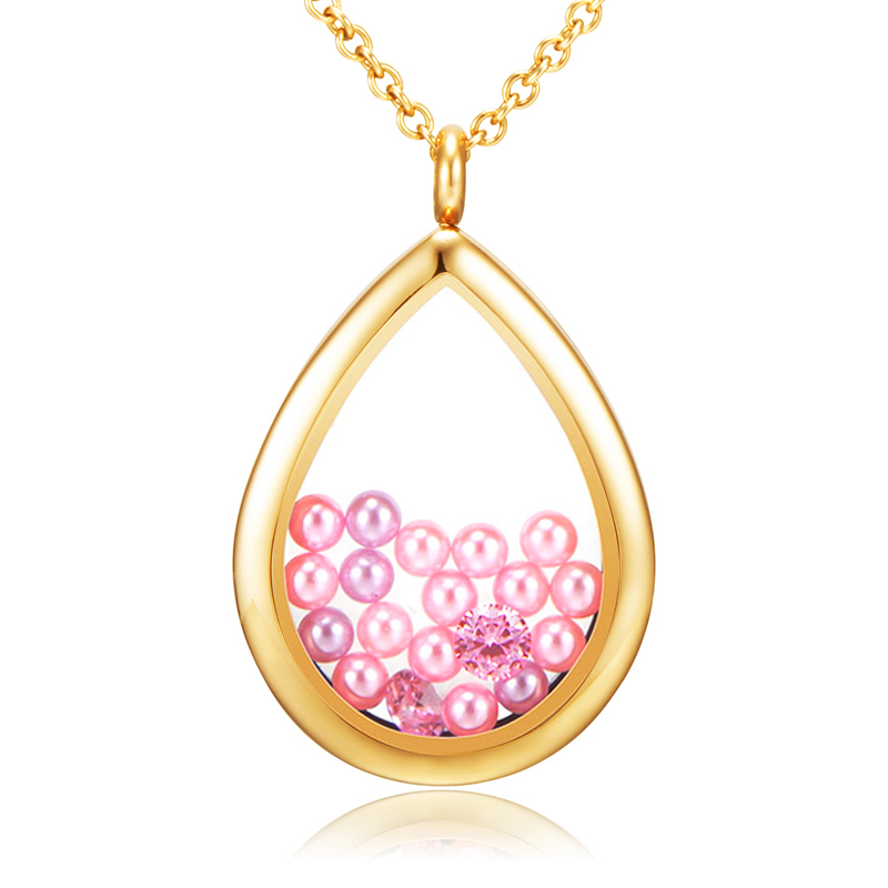 Silver gold rose gold Stainless steel teardrop floating locket fit charms and birthstones