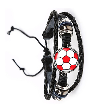 Soccer, basketball, baseball, 20mm bracelet, circular photo bracelet is the result of hand-made leather material. image