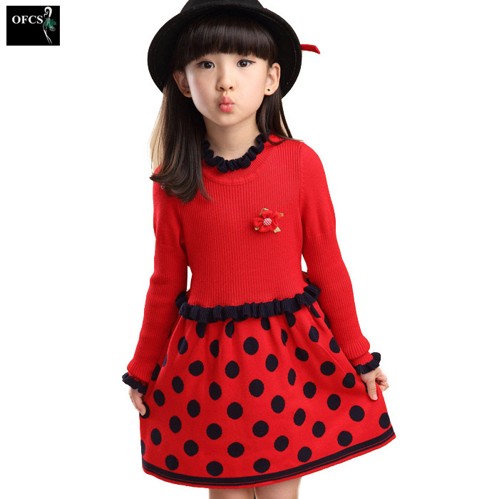 Selling new girls dress, children autumn and winter long-sleeved round neck knit dot dress warm, red, rosy red, Navy blue children s new spring and autumn cotton stripes round neck suit thin section long sleeved jacket girl dress baby girls dress