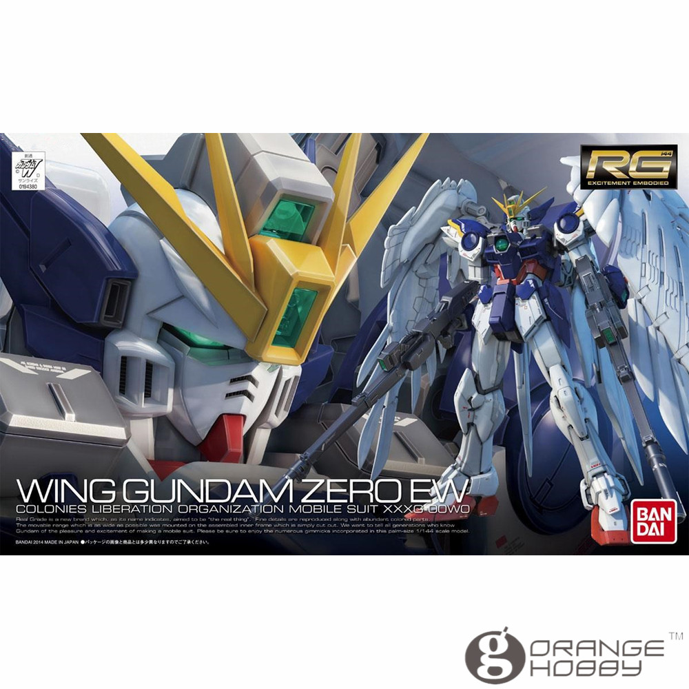 OHS Bandai RG 17 1/144 XXXG-00W0 Wing Gundam Zero EW Mobile Suit Assembly Model Kits oh bandai bandai gundam model sd q version bb 309 sangokuden wu yong bian xiahou yuan battle