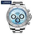 LOREO Дайвинг серии мужские наручные часы Топ люксовый бренд 200 м водонепроницаемый стальной ремешок для часов мужские официальные спортивны...