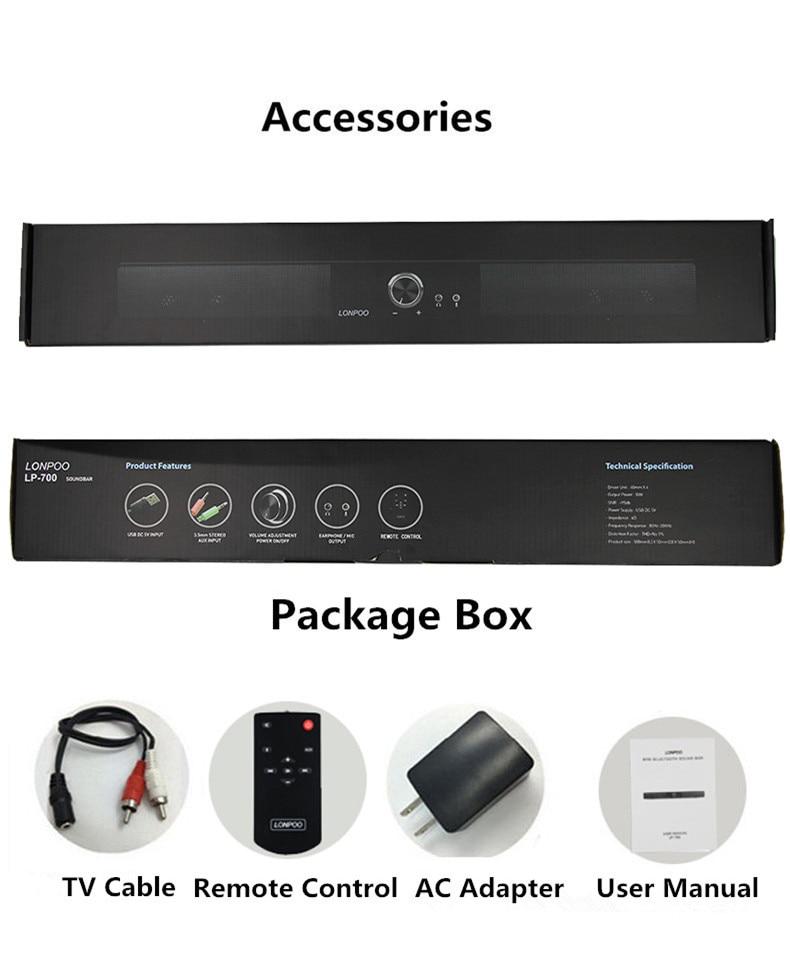 LONPOO Soundbar Bluetooth Högtalare 10W USB Högtalare För Datorer - Bärbar ljud och video - Foto 6